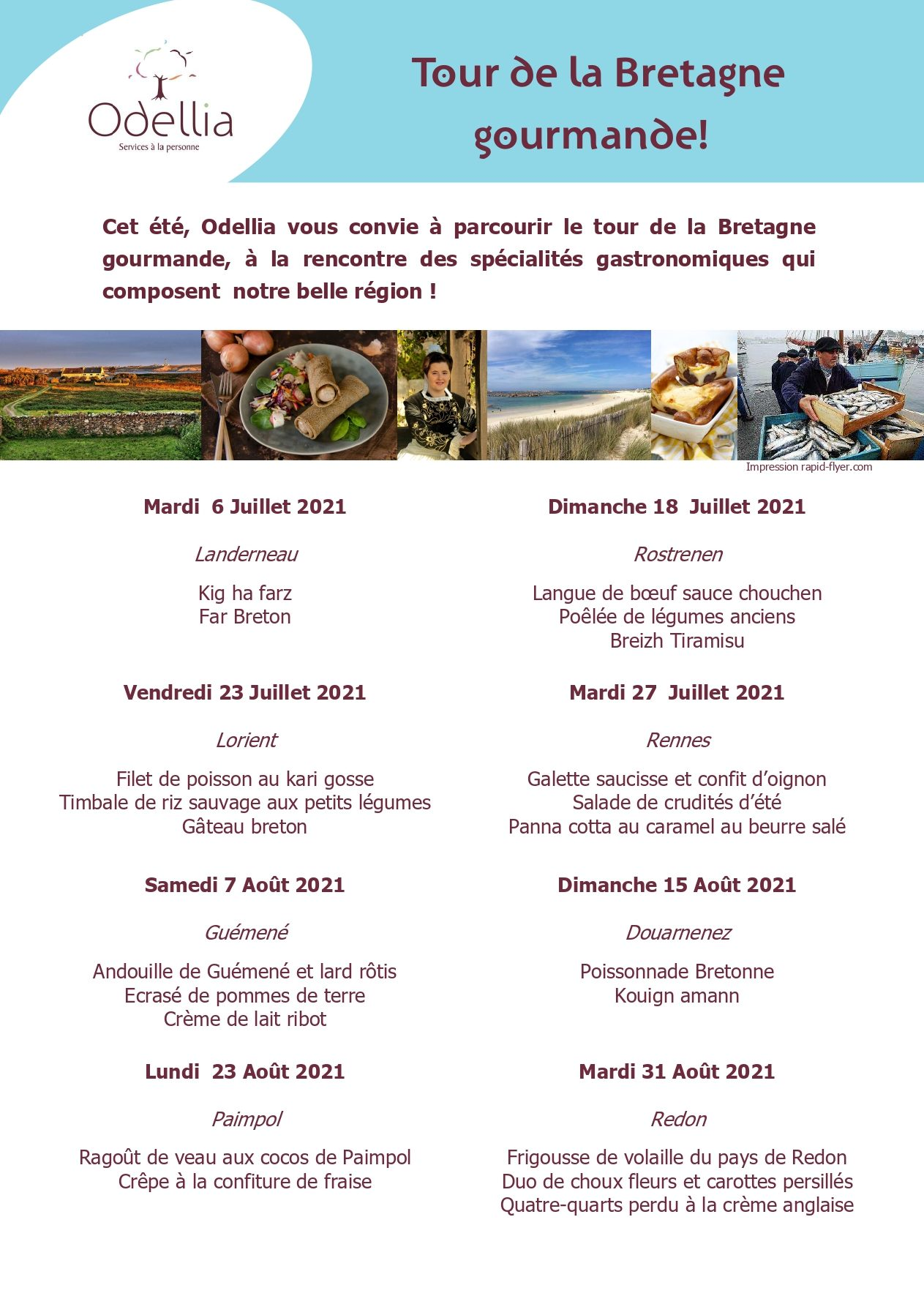 tour de la Bretagne gourmande proposé par Odellia, société de portage de repas à domicile.
